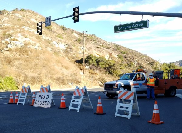 Traffic Alert Laguna Canyon Road Closed due to a downed telephone pole