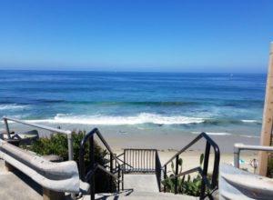 Stairs descending down to St Anns Street Beach Laguna Beach California