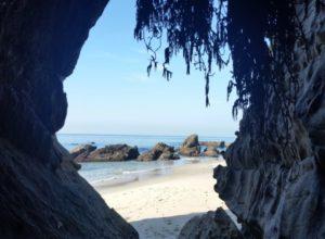 peeking through the rocks to woods cove beach laguna beach ca