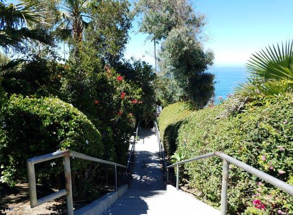 stairs leading down to west street beach in laguna beach ca