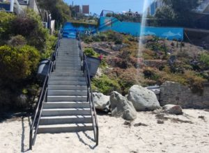 Stairs ascending up to St Anns Street Beach Laguna Beach California