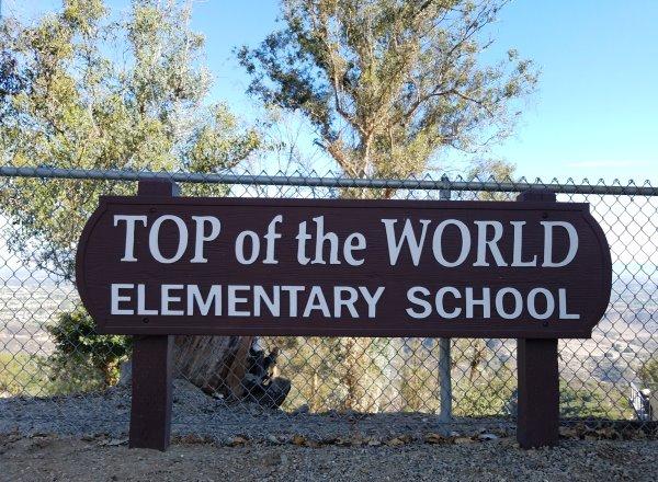 Top of the World Elementary School Sign Laguna Beach California Orange County School