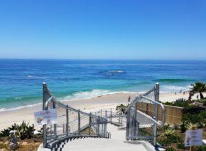 descending stairs to mountain road beach laguna beach california