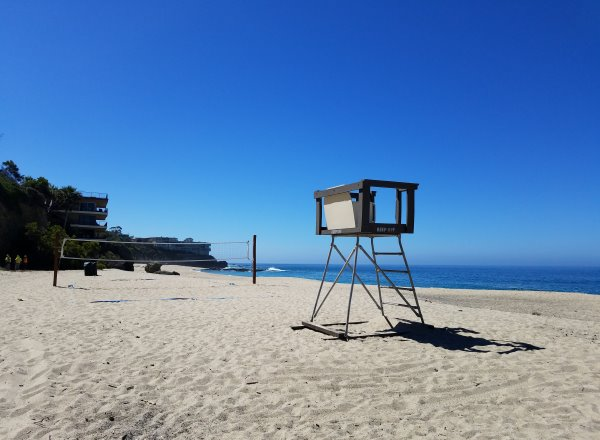 lifeguard stand and volley ball net west street beach laguna beach ca