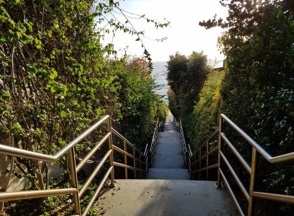 stairs going down to table rock beach laguna beach california
