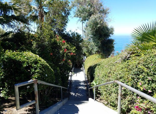 stairs leading down to west street beach in laguna beach ca